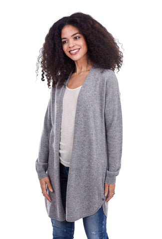 In Cashmere Cashmere Open Cardie, Speckle Gray