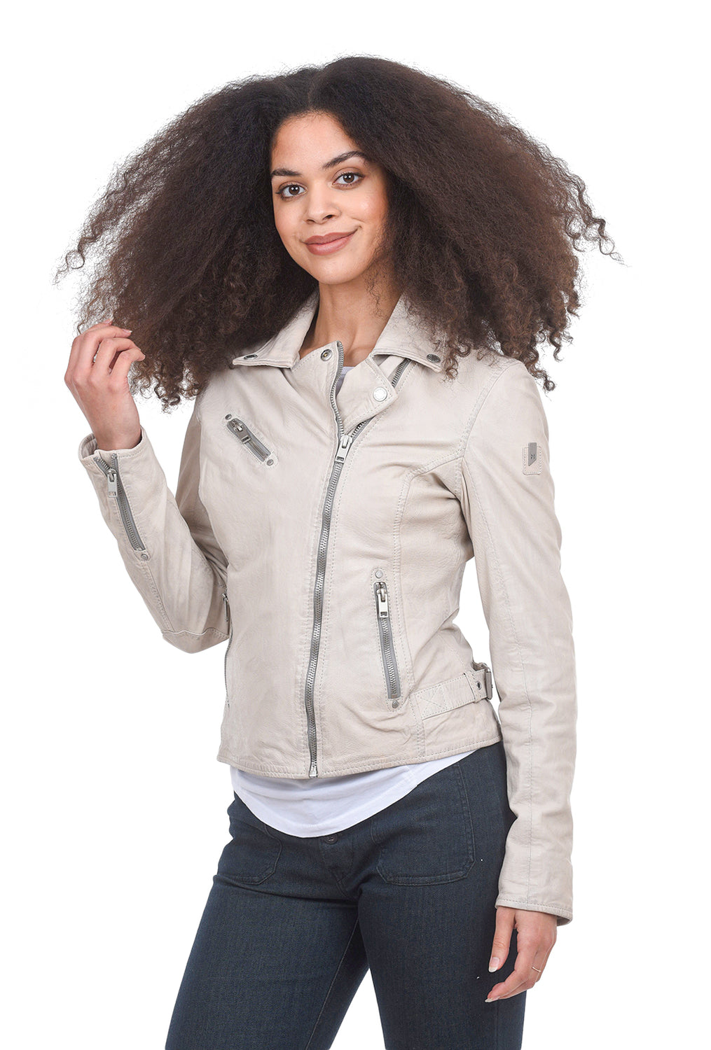 Mauritius Sofia Leather Jacket, Off-White