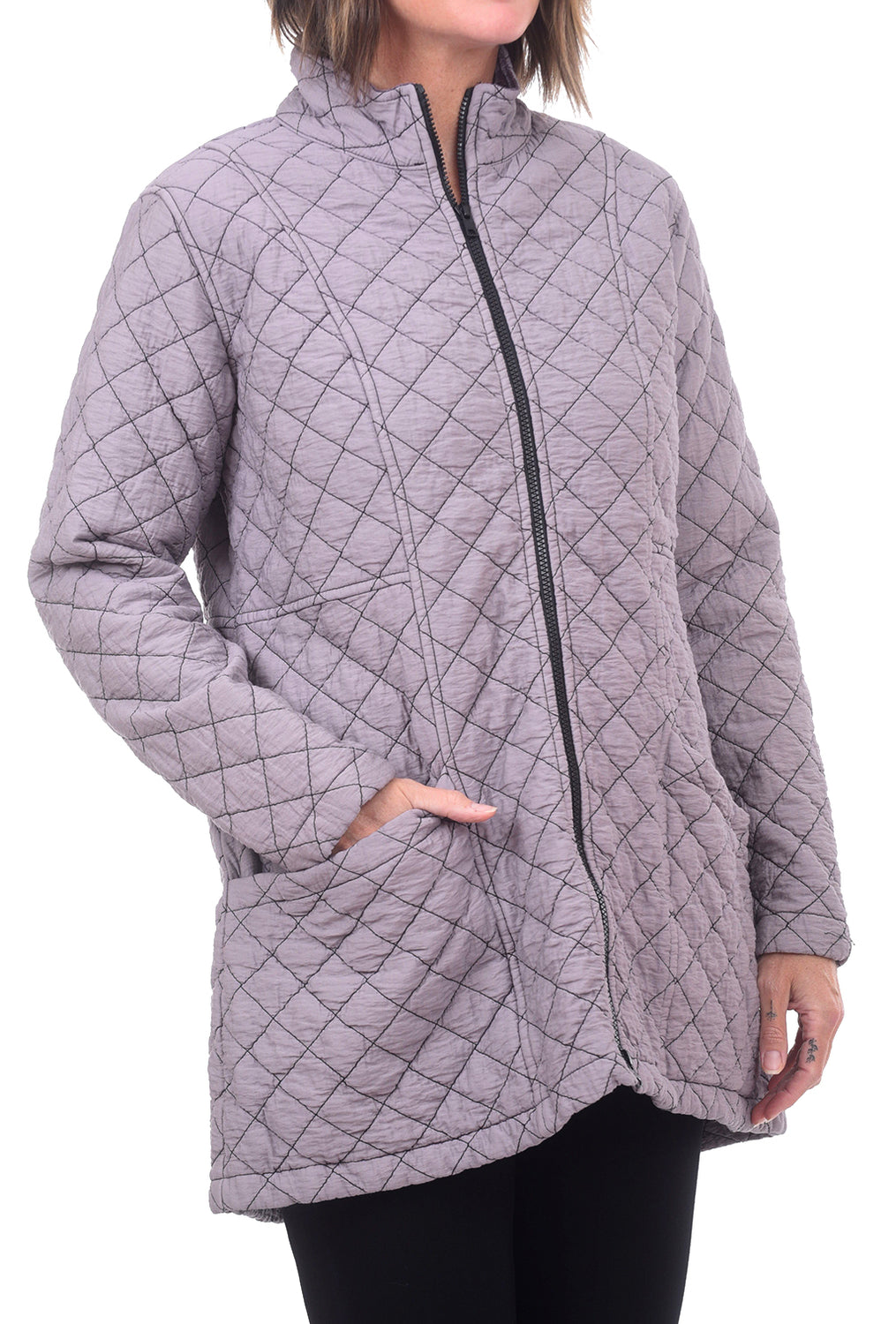Cut Loose Quilted Parachute Zip Jacket, Ash Violet