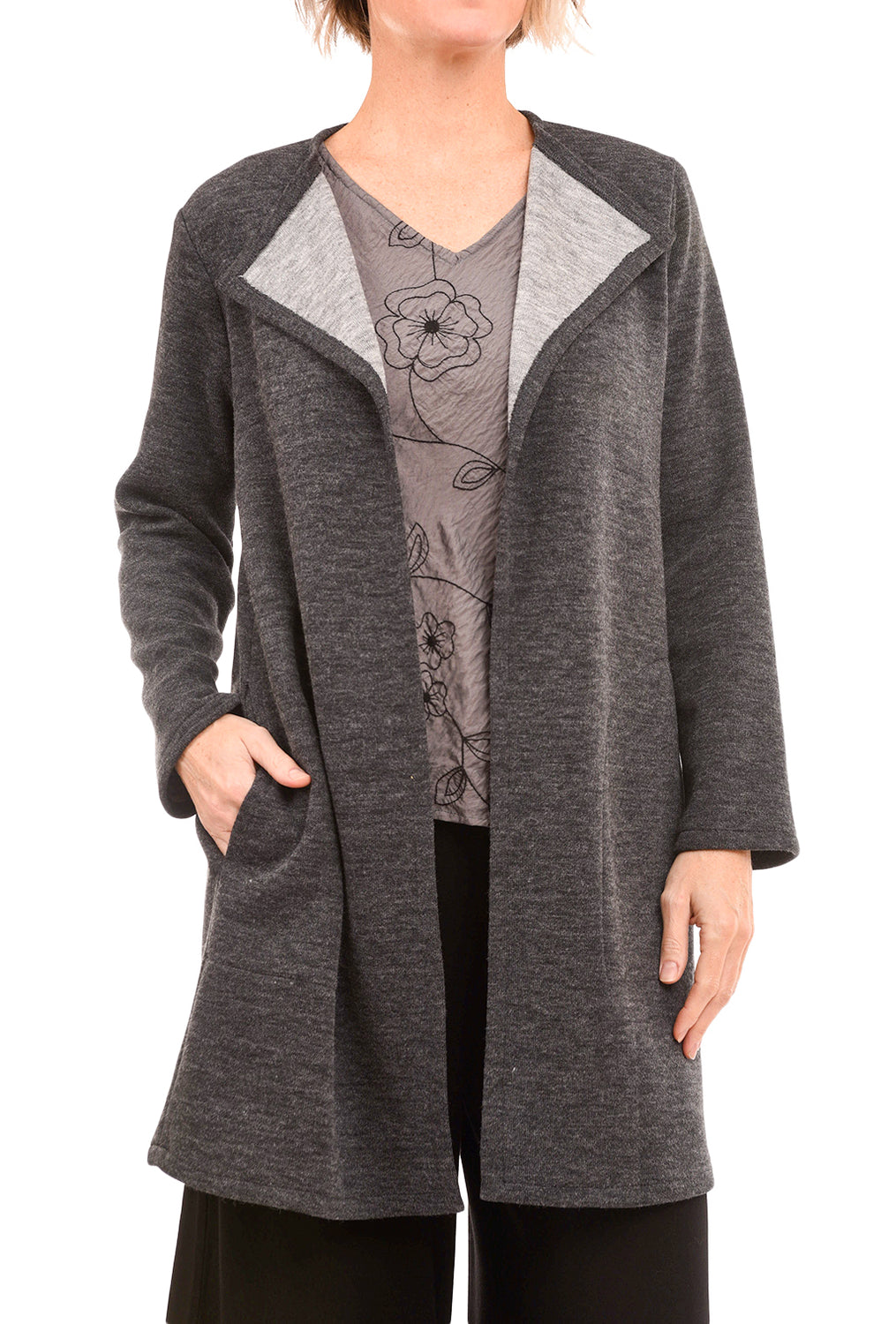 Christopher Calvin Double-Face Open Jacket, Charcoal