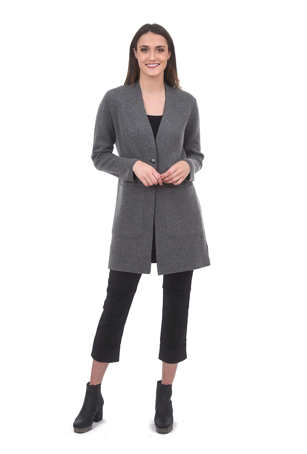 Kokun Reversible Car Coat, Charcoal/Black
