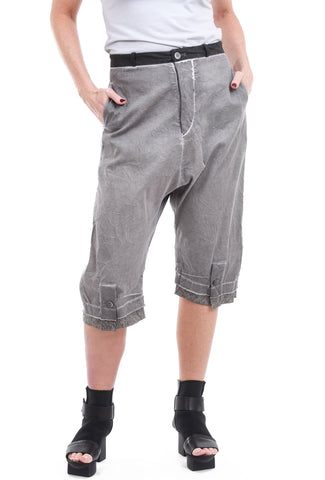 Umit Unal Linen Extended-Rise Short Pants, Gray