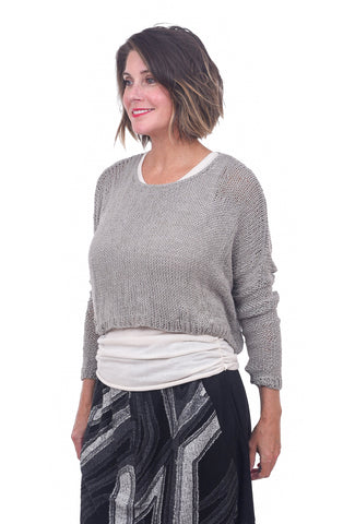 Umit Unal Open Weave Crop Sweater, Gray