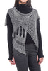 B&K Moda Drape Neck Vesty Topper, Black/White One Size Black