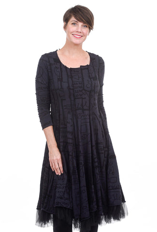 Rundholz Black Label Tulle Trim Shapely Dress, Dark Blue Print