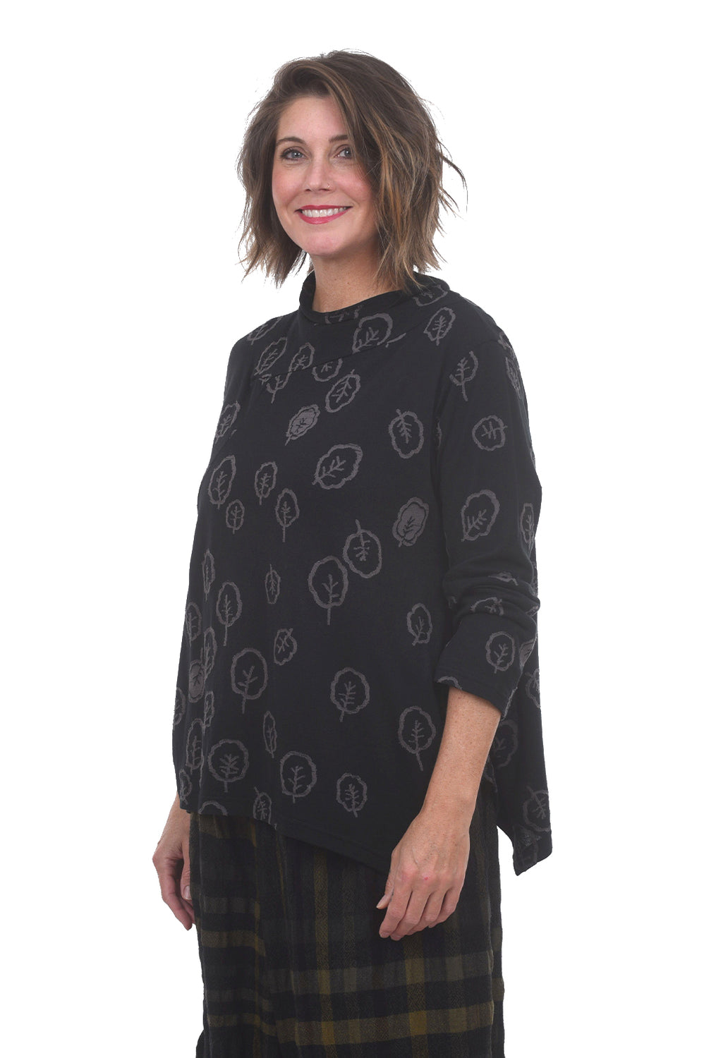 Ji-U Scattered Leaves Top, Black/Gray