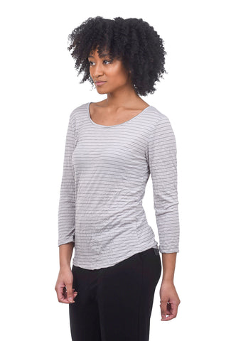 Comfy USA Print 3/4-Sleeve Crinkle Tee, Oyster Pinstripe