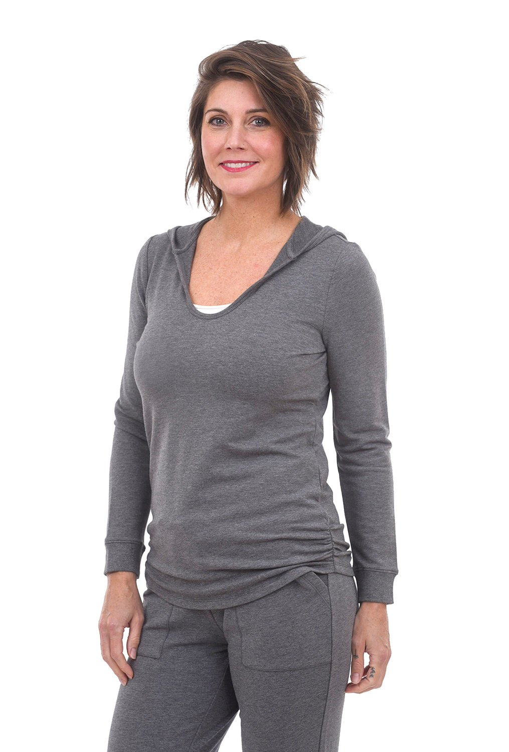 Barefoot Dreams Luxe Lounge Hoodie, Heather Gray