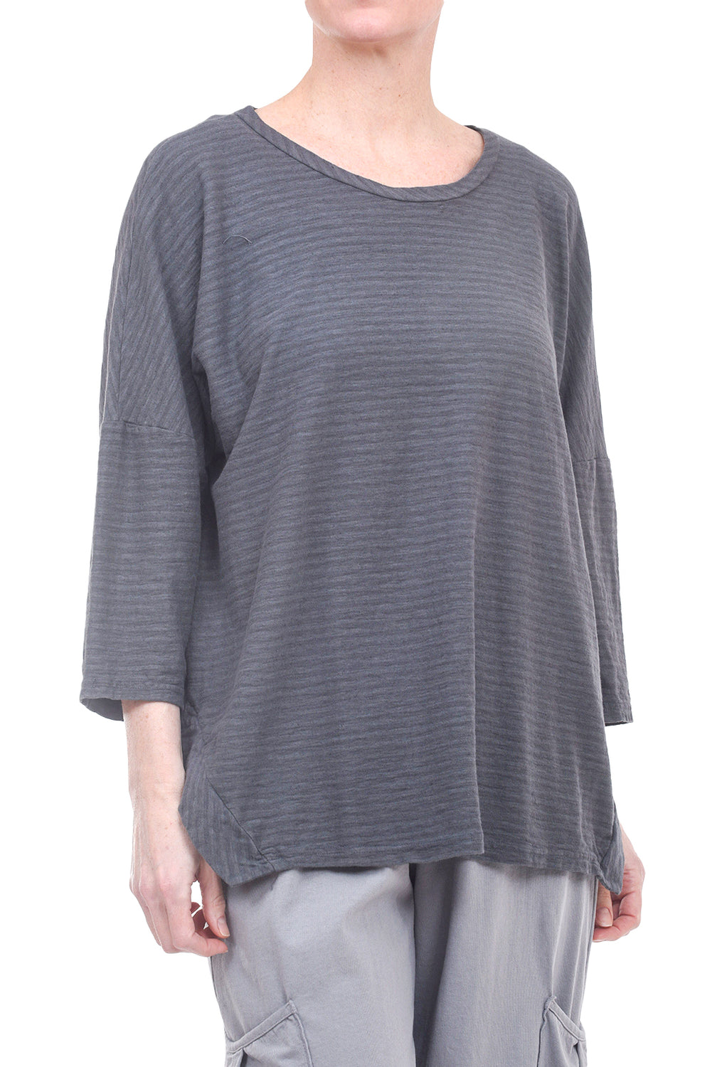 Cut Loose Linen Stripe Boxy Top, Iron Gray One Size Gray