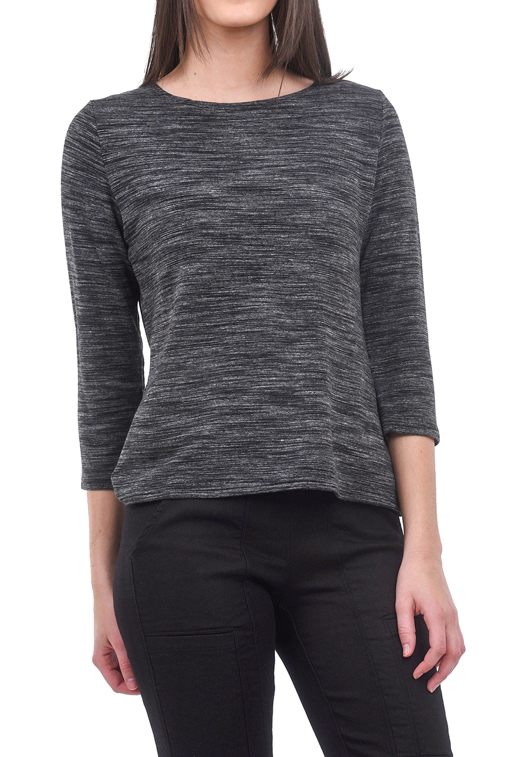 Cut Loose Marled 3/4 Boatneck Top, Laundered