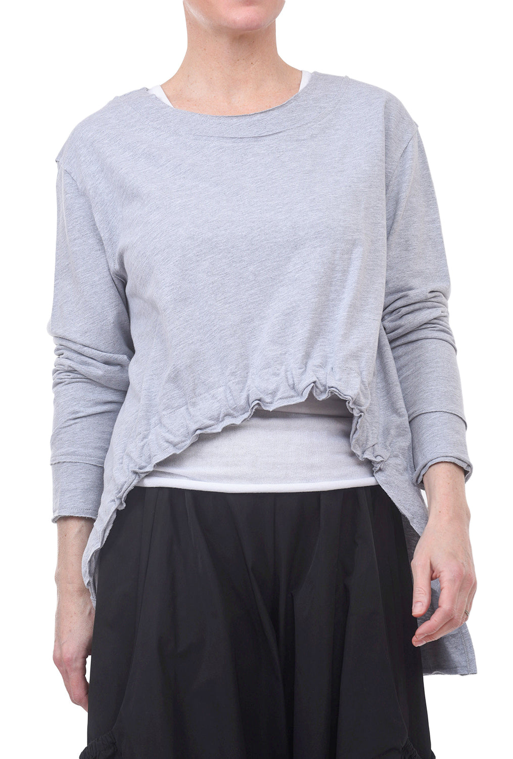 Planet Drawstring Sweatshirt Top, Heather Gray