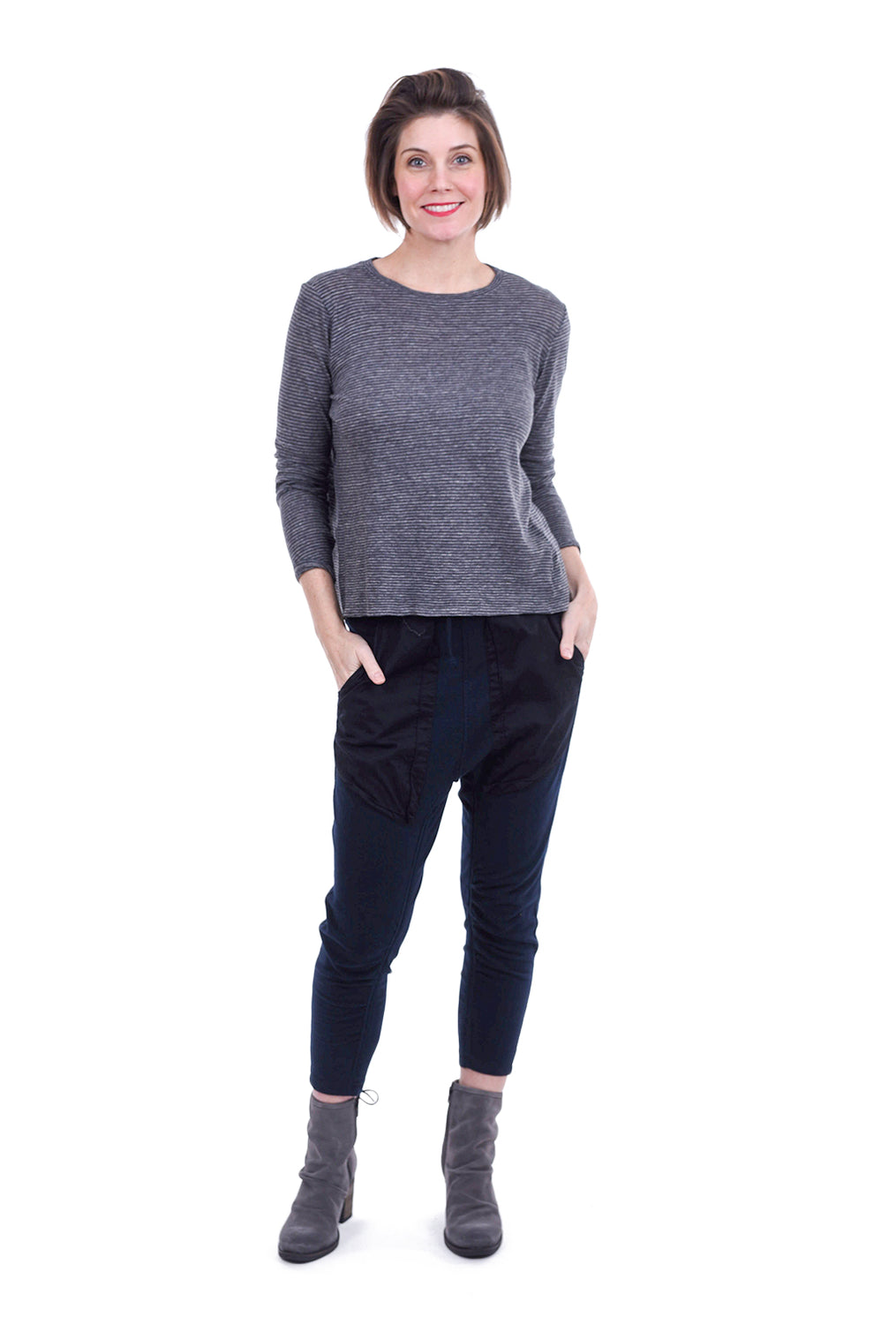Enza Costa Slightly Cropped L/S Tee, Charcoal Gray