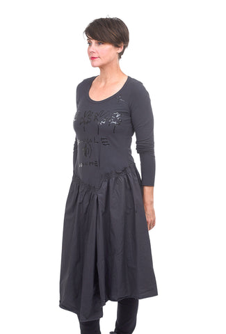 Rundholz Black Label Drop-Waist Combo Dress, Dark Gray Print