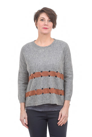 Kerisma Knits Rosetta Sweater, Gray/Rose