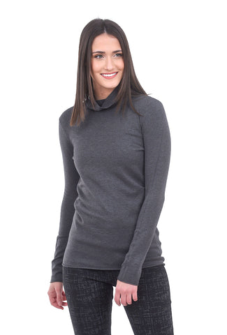 Sisters Spare TNeck Sweater, Charcoal