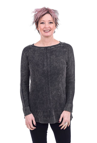 M. Rena Mineral Wash Cable Sweater, Charcoal