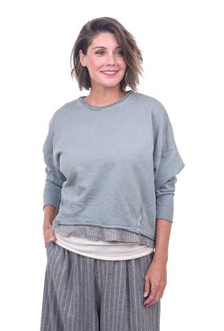 Umit Unal Sweater-Trim Sweatshirt, Dust Blue