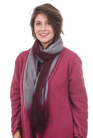 Blue Pacific Cashmere Bliss Scarf, Burgundy/Nickel