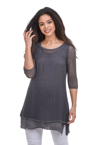 Cut Loose Fishnet Long Top, Iron Gray