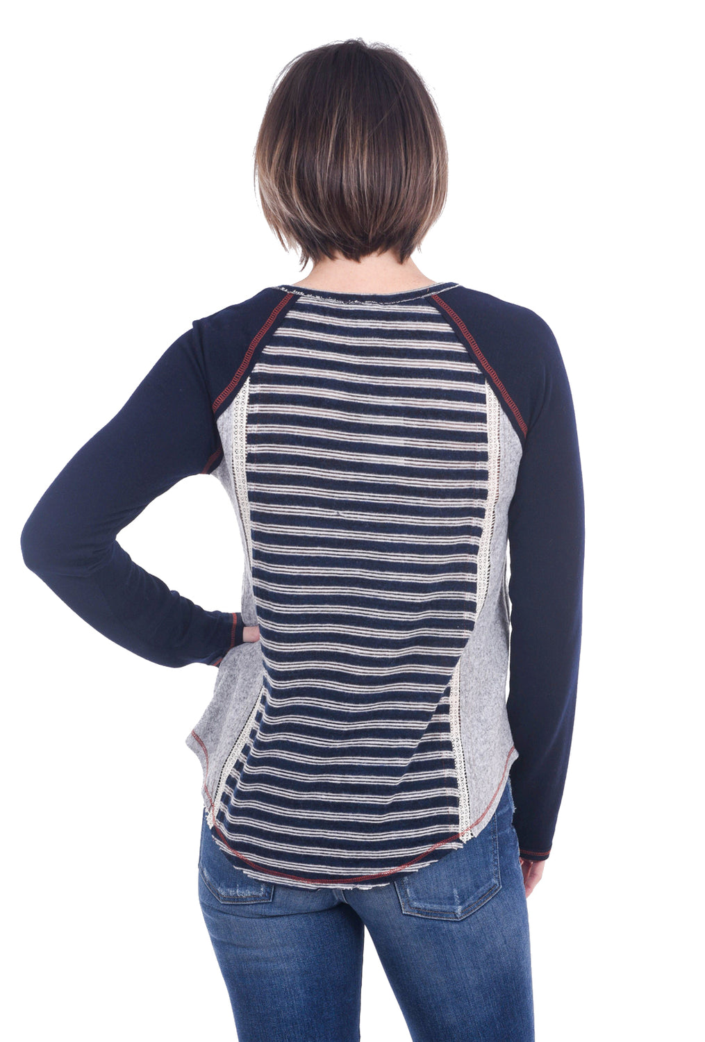 Hem & Thread Brushed Stripe Baseball Top, Navy/Rust