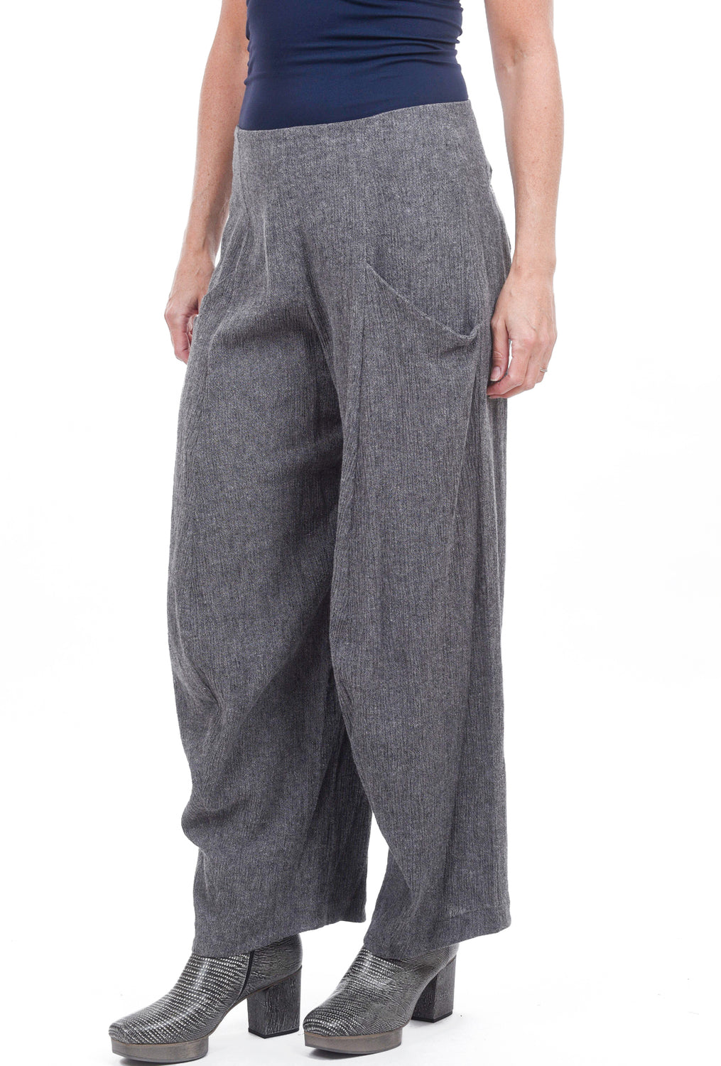 Matthildur Linen-Cotton Lantern Pants, Gray Heather