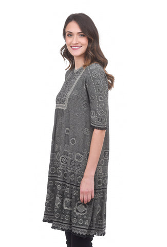 M & Kyoko Fringe Sleeve Smock Dress, Gray/Black One Size Gray