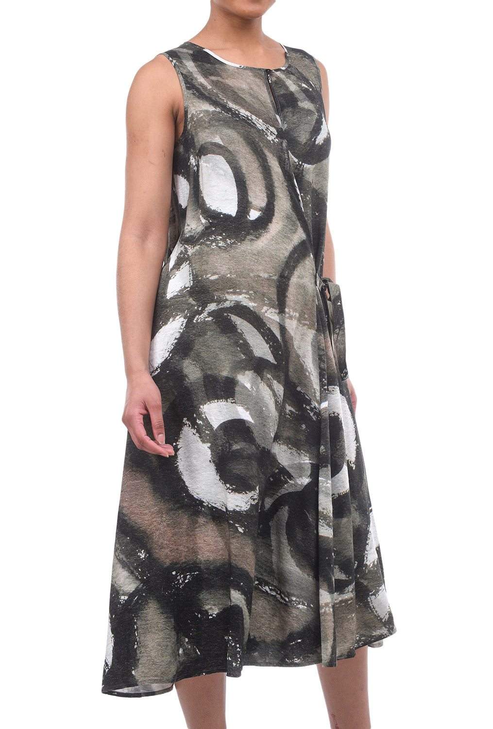 Crea Concept Abstract Side Tie Dress, Olive