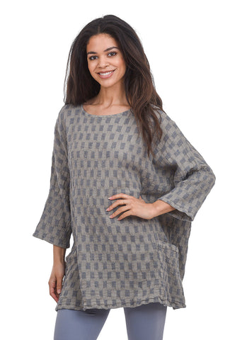 Cut Loose Linen Jacquard Tunic, Lentil Taupe One Size Taupe