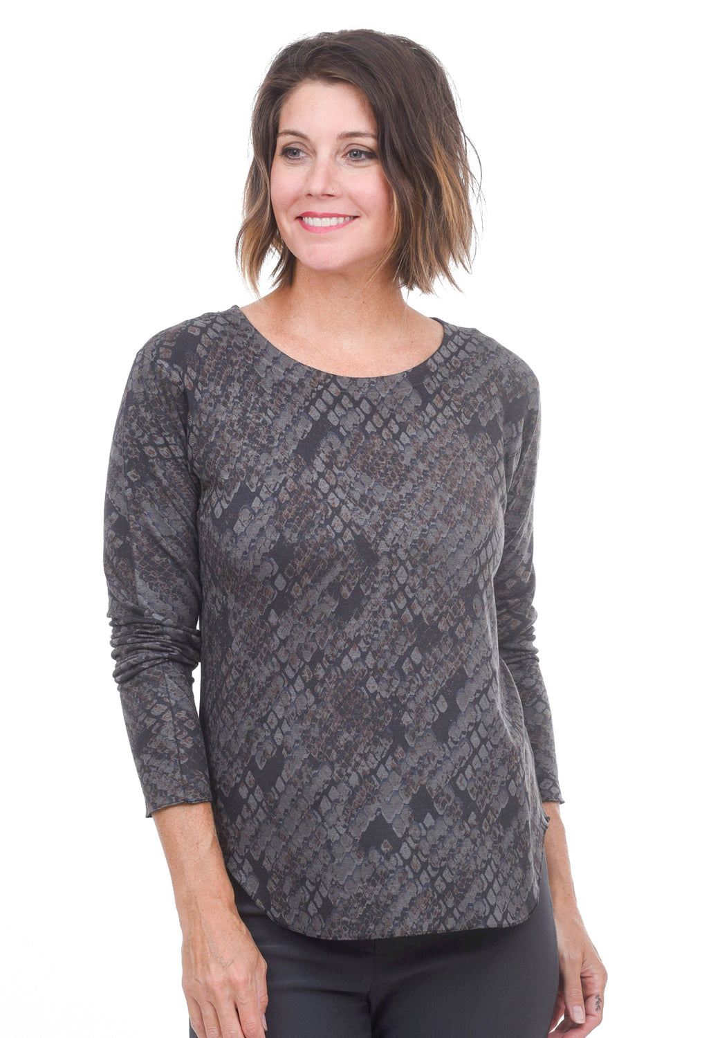 Nally & Millie Brushed Python Print Top, Gray