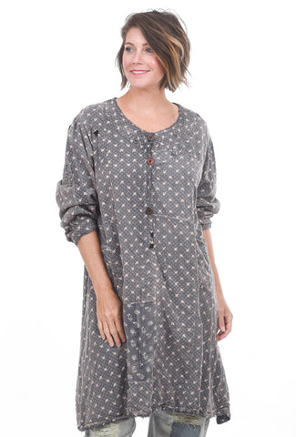 Magnolia Pearl Daveney Smock Dress, Tea Roses One Size Gray