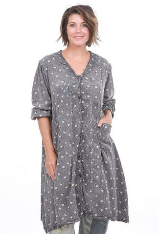 Magnolia Pearl Crimson & Clover Joan Smock Dress, Gray One Size Gray