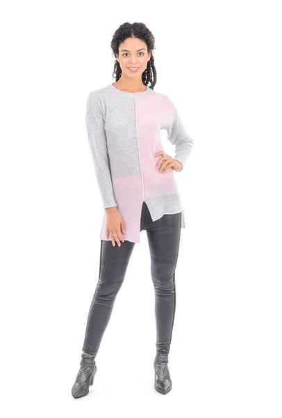 Plush Cashmere Cashmere Colorblock Tunic, Foggy Gray/Powder