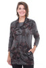 Inoah Petals Pocket Cowl Tunic, Gray