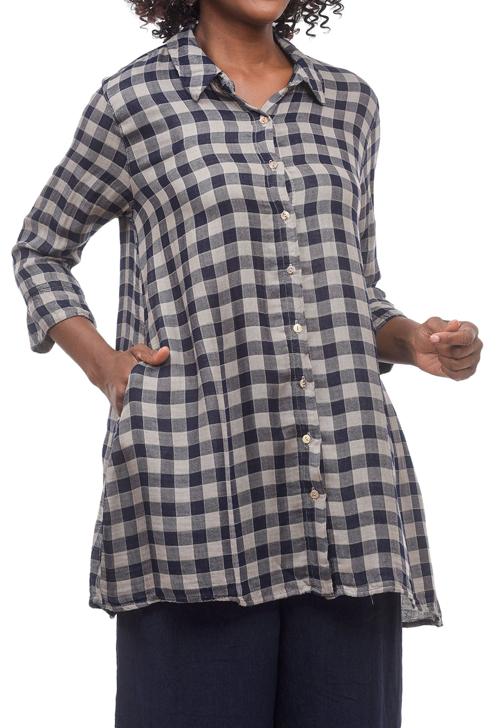 Cut Loose Check Double Cloth Blouse, Stonewall