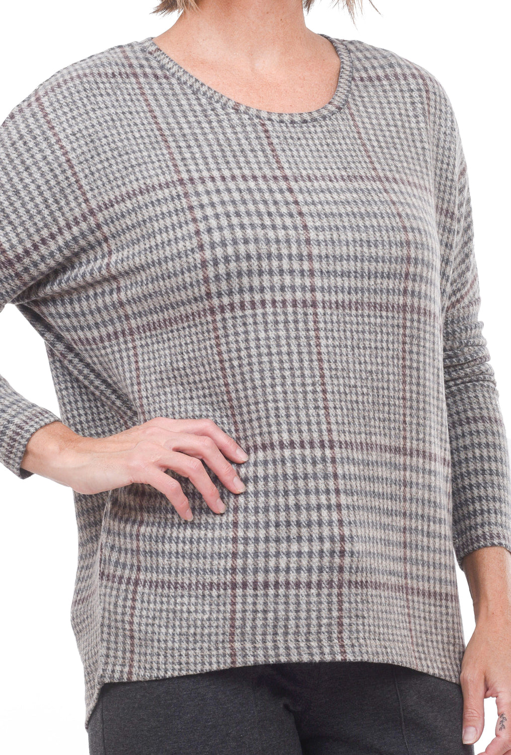 Soya Concept Brushed Plaid Top, Gray/Maroon Combo