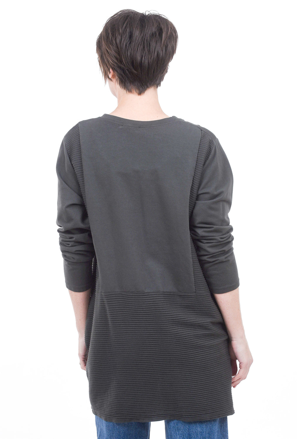 Oro Bonito Ribbed Details Tunic, Charcoal One Size Charcoal
