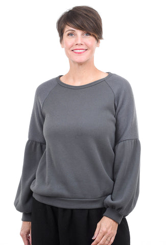 Sinuous Brushed Bishop Sleeve Pullover, Charcoal