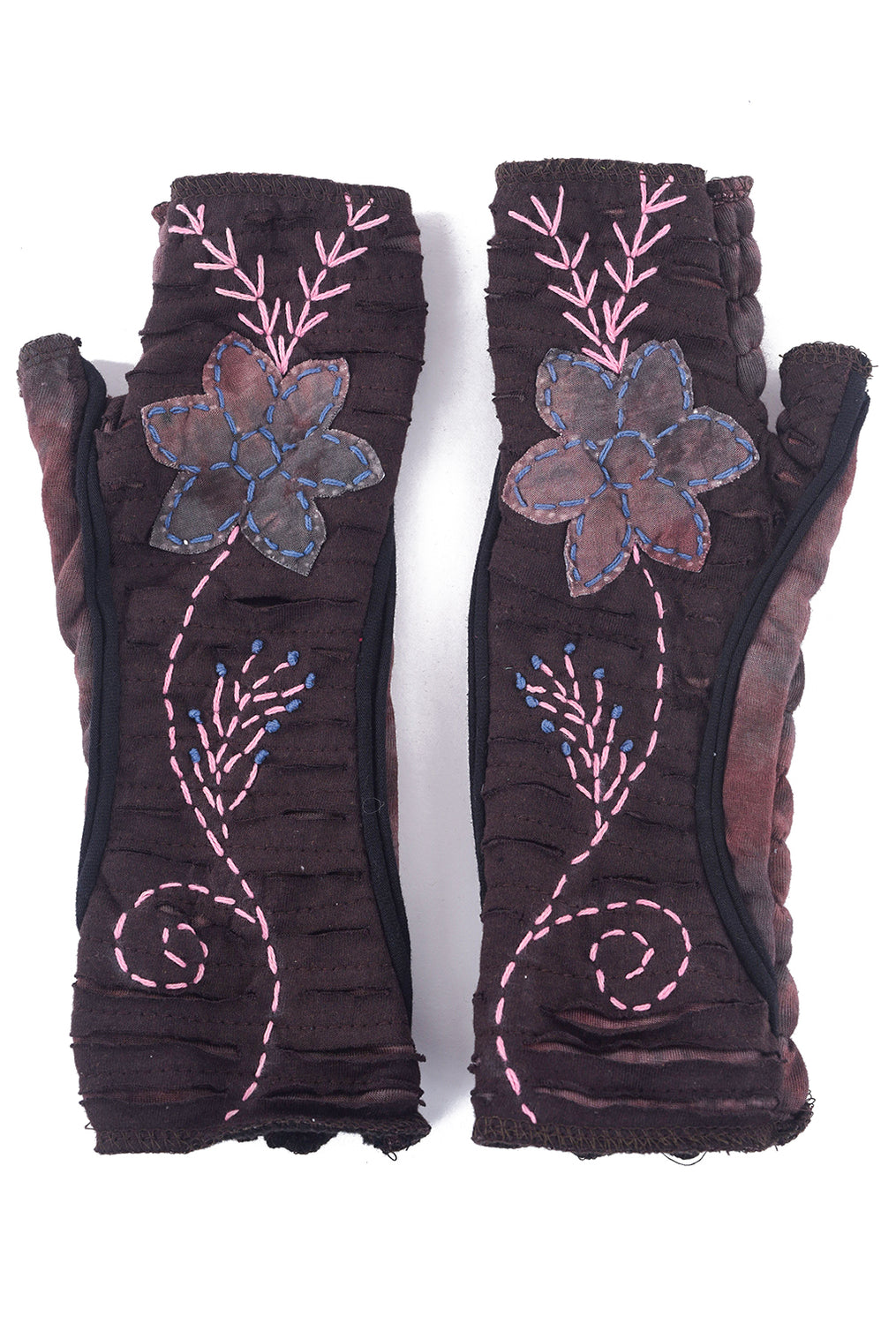 Windhorse Designs Embroidered Fleece Handwarmers, Plum Brown One Size Plum
