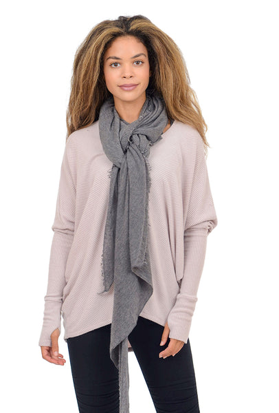 Grisal Cashmere 'Love' Scarf, Navy/Heather Gray