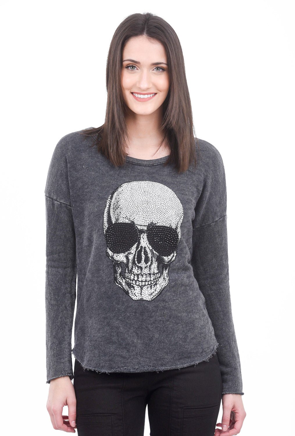 T Party Skull Raw Hem Top, Charcoal