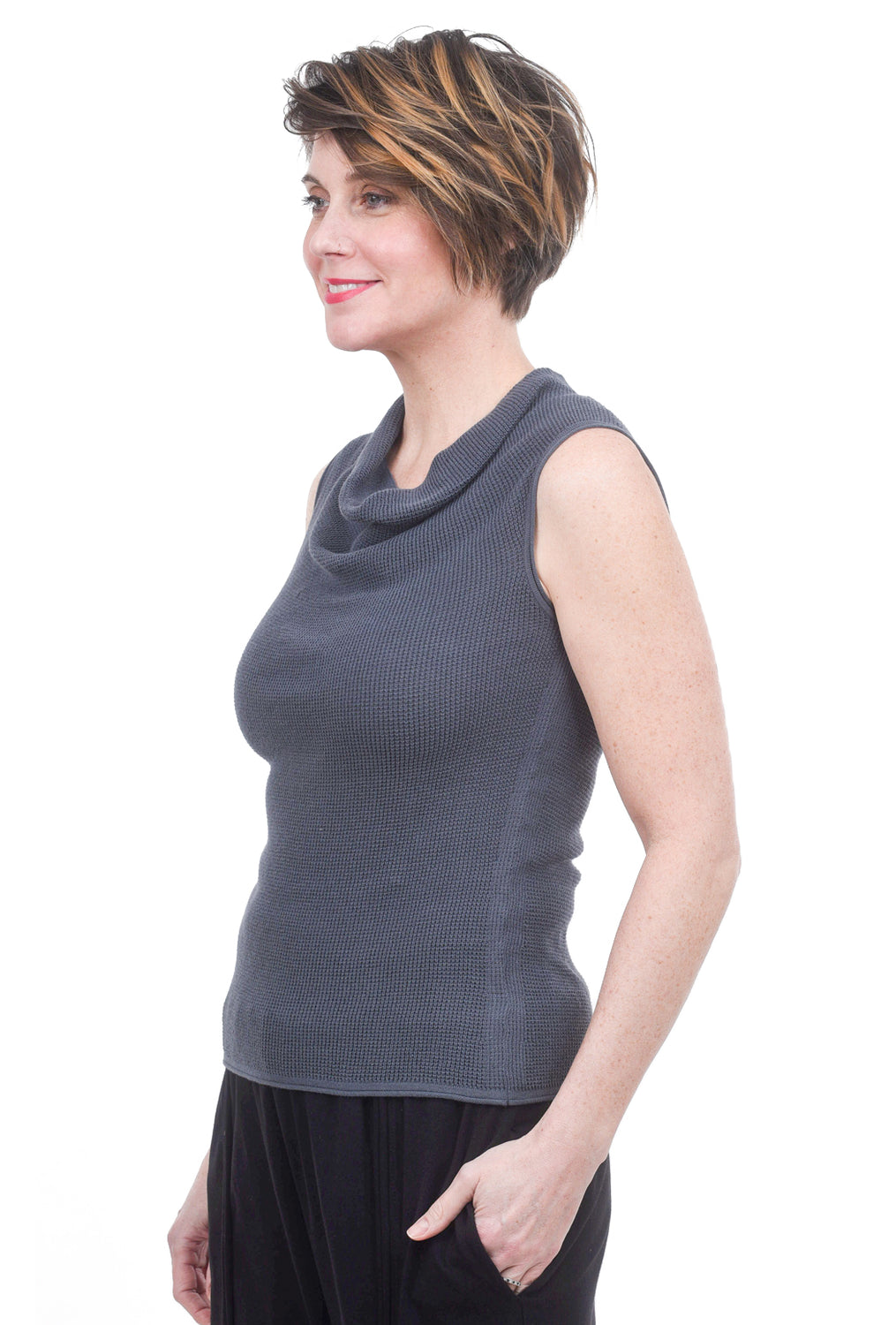 Margaret O'Leary Knits Thermal Cowl Top, Blue Slate