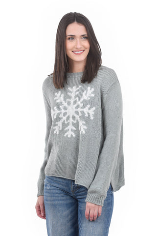 Wooden Ships Snowflake Crewneck, Nickel Gray/Snow
