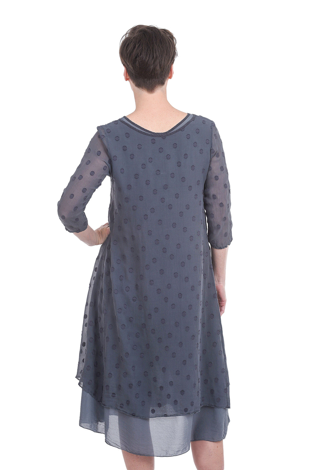Grizas Floating Dots Dress, Charcoal