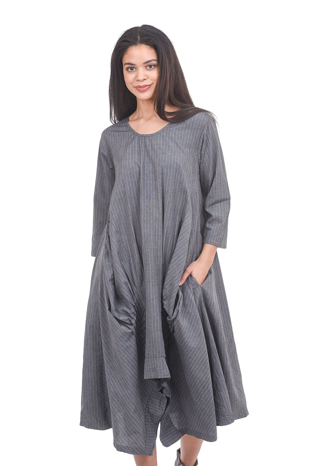 Tulip Lexi Dress, Gray Rockefeller Stripe