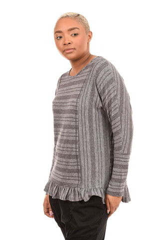 Sinuous Brushed Ruffle Trim Top, Charcoal