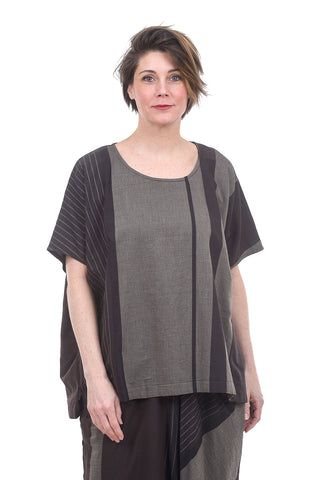 Moyuru Mixed Media Slouch Blouse, Brown/Gray