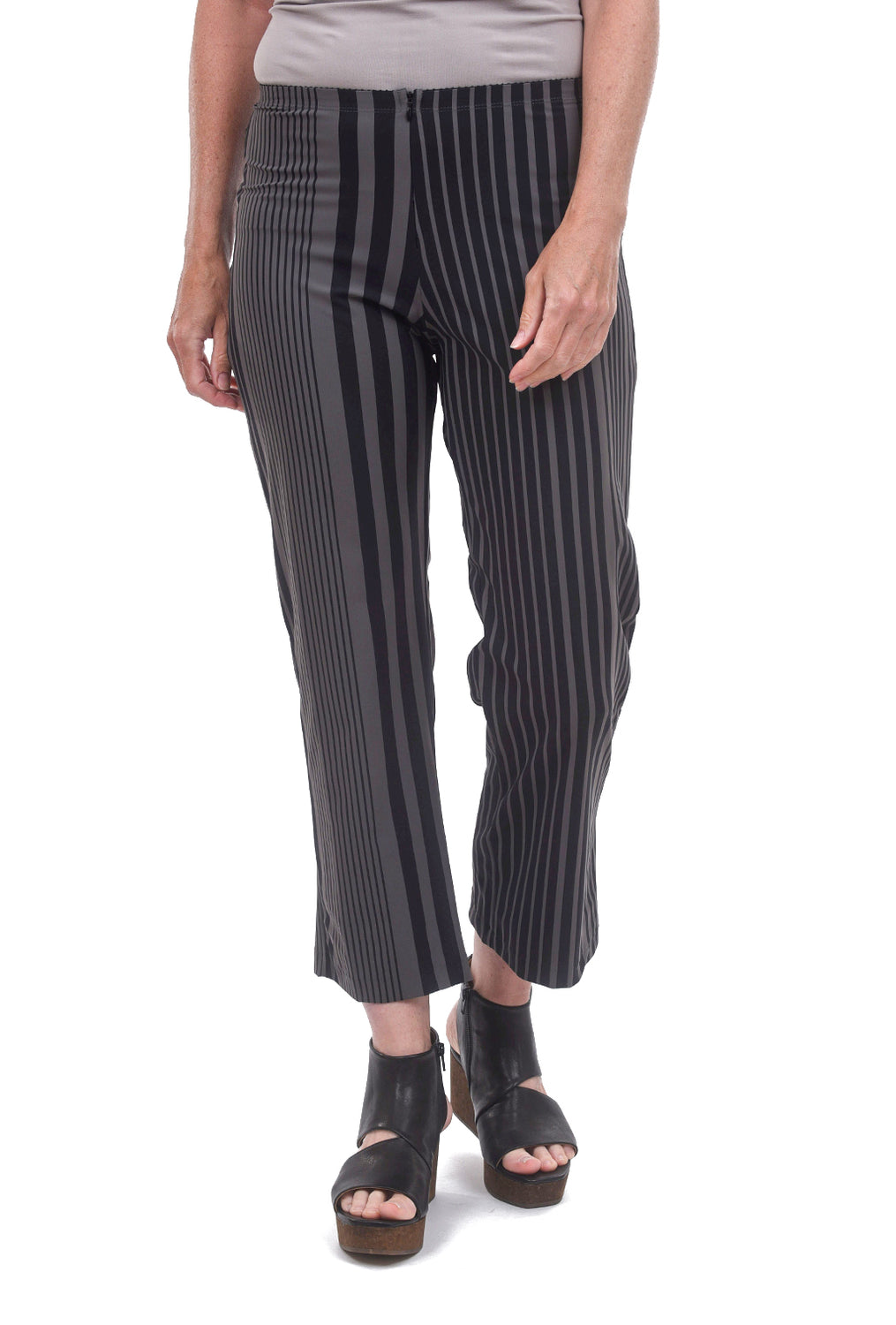 Porto Cropped Traveler Pants, Latte Stripe