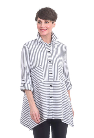 Moonlight North Meets East Stripe Blouse, White/Gray