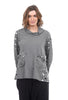 Ji-U Knit Funnel Pocket Top, Black/Gray