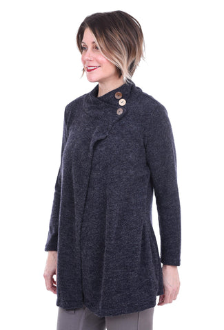 Windhorse Designs Ridge Knit Button Sweater, Navy